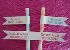 20 White Paper Straw Flags Tags PERSONALISED COLOUR Wedding Christening Birthday