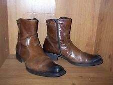 Mens brown leather side zip ankle boots (Euro 44) ALDO