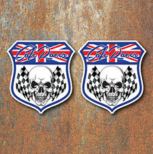 CAFE RACER SKULL CHEQUERED FLAG STICKERS x2 100x95mm Motorcycle Biker