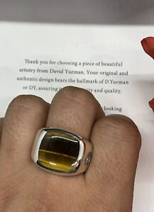 David Yurman Exotic Stone Signet Sterling Silver Ring With Tigers Eye Size 11