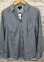 Lane Bryant button down shirt blouse womens 16 vneck navy blue stripe NEW 16W N6