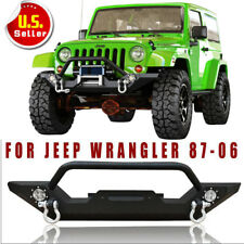 Front Bumper Built-In LED CREE Lights& W/Winch Plate 87-06 Jeep Wrangler TJ YJ H