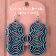 Seamless Circles Teal Laser Cut Wood Earrings Green Tree COMBINED SHIPPING