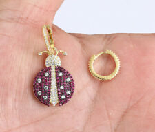Solid Sterling Silver Earrings #67147 Ladybug Ruby Gold Colored Over .925