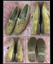 Mephisto Cool Air Gold Butterscotch Patent Leather Faux Snake Loafer Slip On 7