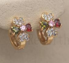 18K Gold Filled - Clover Flower Heart Peridot Ruby Topaz Pink Lady Hoop Earrings
