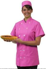 Chef Coat Jacket Medium Raspberry 12 Button Front Female Fitted Uniform S/S New