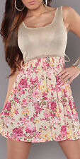 NEW SEXY FLORAL SKIRT DRESS TANK/SINGLET LOOK TOP + BELT BEIGE/PINK SIZE 6 8 10