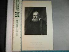 Rare Antique Original VTG 1850 Galileo Robert Hart Portrait Engraving Art Print