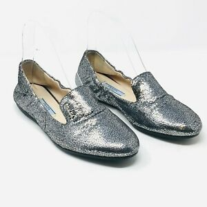 PRADA Ballet flats Silver 37.5 Womens Leather Crackle