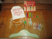 Vintage Child's Dolly's Little Champ Clothespin Bag W/Clothespins Etc.