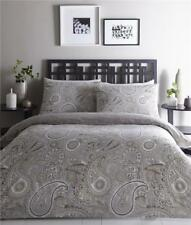 SUPERKING DUVET SET QUILT COVER BED SET ETHNIC PAISLEY GREY / TAUPE BEDDING