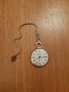 Vintage Sekonda Calendar Pocket Watch With Chain -c1970