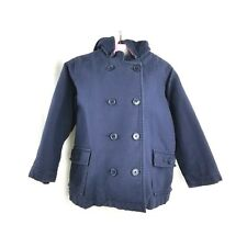 Baby Gap Girls Textured Pea Coat Hooded Navy Blue Toddler Girls Size 5 5T