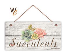 "Succulents Sign, Rustic Style Garden Sign,  5"" x 10"" Wood Succulent Plant Sign"