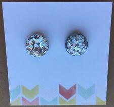 Glitter Stud Earrings, Light Silver Glitter, Surgical Steel, 12mm Sparkle Resin