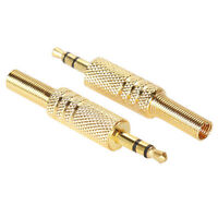 """Stereo Audio TRS Connector Adapter of 3.5mm 1/8"""" Male Jack Plug Gold Plated 2Pcs"""