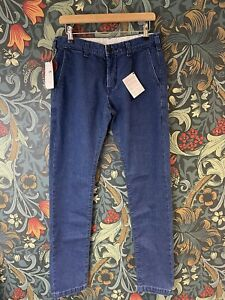 Edwin Regular Tapered Fit Made In Japan Mens Chinos Blue RRP £190 (CHINOS)