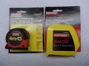Craftsman NOS Locking Tape Measure Set, 13 ft & 26 ft - Part # 92247/92236