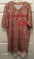 Virginia UVA Cavaliers Baseball Game Worn Camo Camouflage #28 Jersey Size 46