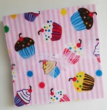 "24 ~ 6.5"" Flannel Fabric Pre-Cut Quilt Squares  ~ Cupcakes"