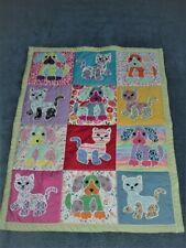 Handmade Puppy & Kitten baby quilt