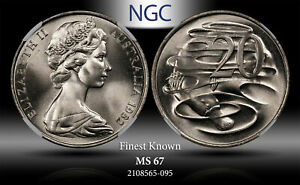 1982 AUSTRALIA 20 CENTS NGC MS 67 FINEST KNOWN