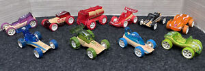 Hape Bamboo Eco Friendly Cars lot of 10, race cars, fire truck, dune buggy, rods