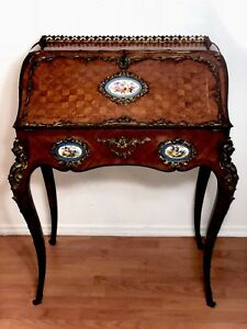 Antique 19th Century Writing Desk Inlaid Rivart's Porcelain By Alphonse Giroux
