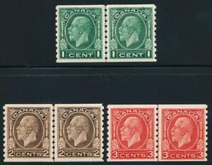 CANADA 205-207 MINT VF HINGED KGV VT. 8 1/2 COIL LINE PAIRS