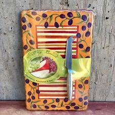 MWW Mediterranean Olives Bright Ceramic Cutting Board Set w/ Knife. NEW IN PKG!
