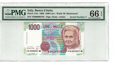 ITALY Low Serial # 000007 1000 Lire 1990 Pick# 114c PMG-66 EPQ GEM UNC. (#1115)