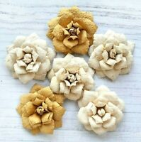 Italian Options - 6 x Ivory Handcrafted Paper Flowers 4cm Craft Embellishments