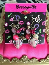 Betsey Johnson Betseyville Vintage Pink Rose Glass Heart Shaky Bead Earrings