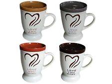 Love You More 16 Oz Ceramic Mug Set with Lids Microwavable Oven Dishwasher Safe