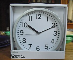Room Essentials Retro Wall Clock Brushed Silver Nickel ~