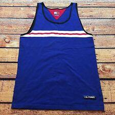 90s VTG TOMMY HILFIGER ATHLETICS TANK TOP T Shirt Big Flag Logo M Muscle Striped