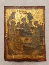 Antique Greek Byzantine Icon The Hospitality of Abraham Hand Painted!!!
