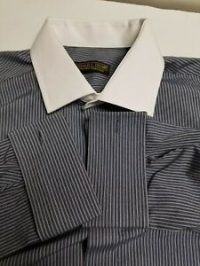DONALD J. TRUMP  SIGNATURE COLLECTION MEN'S DRESS SHIRT STRIPED GRAY 16.5 32,33