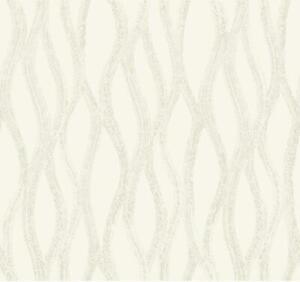 Wallpaper Candice Olson Gray Gold Glitter Drizzle Wavy Stripe on Pearlized White