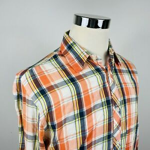 Scotch & Soda Mens Large Casual Button Front Shirt Orange Blue Plaid 100% Cotton