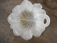 "Vintage Frosted Glass Leaf Dish apx 7.5"" diameter Farmhouse Flea Market decorati"