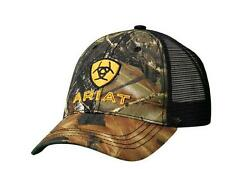 Ariat Western Mens Hat Camo Snap Adjustable Logo Cap OSFA Black 15816222