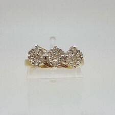 Gorgeous 9ct Gold 54pt Diamond Triple Cluster Ring.  Goldmine Jewellers.