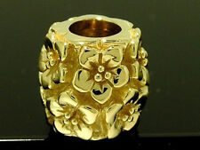 Bd058 Authentic 9ct Solid Yellow Gold Blossom Bead Flowers Large Bead Charm