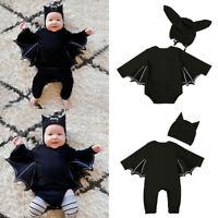 Newborn Baby Halloween Bat Hooded Jumpsuit Rompers Boys Girls Cosplay Costume UK