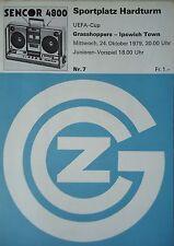 Programm EC 1979/80 Grasshoppers Zürich - Ipswich Town