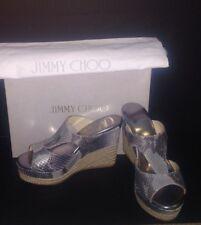 NWT Jimmy Choo Musk Snake Print Leather 143 Pacane espadrille & dust bag SZ 6.5.