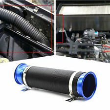 Car Flexible Extensible 75mm Offroad Cold Air Intake Pipe Inlet Hose Pipe Blue