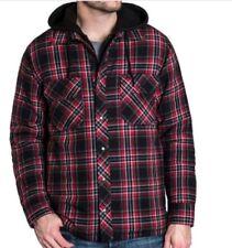 BC Clothing Mens Hoodie Flannel Shirt Jacket /M/ Red Plaid